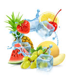 Multifruit with ice cubes and water splash Stock Images