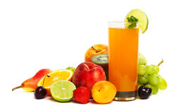 Multifruit juice. With differnt fruits  on white background Stock Photography