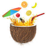 Multifruit juice in the coconut with a straw and spray Royalty Free Stock Images
