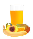 Multifruit juice in the glass isolated on white Stock Photos