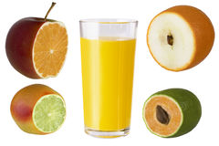 Multifruit juice. Juice peach lime orange apple Royalty Free Stock Photos