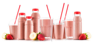 Multifruit smoothie in many kinds of glasses and bottles Stock Photos