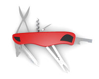 Multifunction pocket knife on white background. 3d rendering Royalty Free Stock Photos