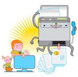 Multifunction Printer. A cartoony multifunction printer doing the job Stock Photography