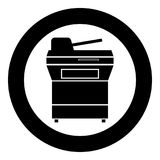 Multifunction printer or automatic copier icon black color in circle. Vector illustration royalty free illustration