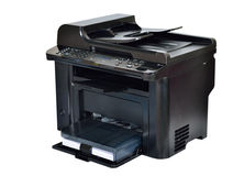 Multifunction printer. Multi-function black color printer isolated Royalty Free Stock Photo