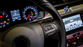 Multifunction steering wheel. Luxury car Royalty Free Stock Photos
