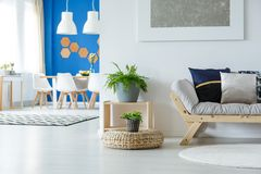 Multifunctional apartment with beige sofa. Multifunctional apartment with white chairs at dining table and plants next to beige sofa stock photography