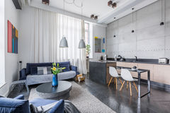 Multifunctional apartment design. New style multifunctional apartment with living room and kitchen combined royalty free stock image