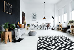 Multifunctional, black and white room. With sofa, plants, desk, chair stock photo