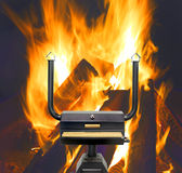 Multifunctional cooking oven, flames. Royalty Free Stock Images