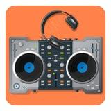 Multifunctional DJ turntable and powerful modern wireless headphones Stock Image