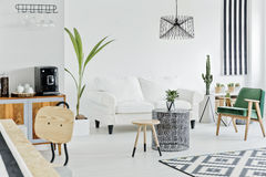 Multifunctional flat in nordic style. Multifunctional bright flat designed in nordic style stock image