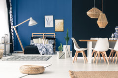 Multifunctional living space. In shades of blue royalty free stock images