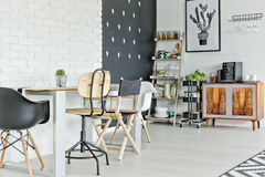 Multifunctional loft apartment. Multifunctional space of modern loft apartment stock photography