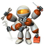 Multifunctional machine robot with many arms. Royalty Free Stock Photo
