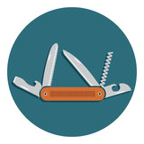 Multifunctional pocket knife icon. Flat design of hiking and camping equipment tool, vector illustration with long shadow Royalty Free Stock Photography