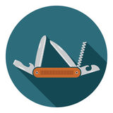Multifunctional pocket knife icon. Flat design of hiking and camping equipment tool, vector illustration with long shadow Stock Image