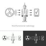Multifunctional radiologi och full-kropp rastrering Vektor Illustrationer