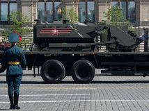 Multifunctional robotics complex of mine `Uran-6` on Red Square during the parade dedicated to Victory Day. MOSCOW, RUSSIA - MAY 9, 2018: Multifunctional Stock Photos