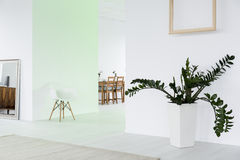 Multifunctional space in white bright house. Spacious multifunctional space in white modern bright house royalty free stock image