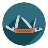 Multifunctional symbol för fick- kniv Plan design av det fotvandra och campa utrustninghjälpmedlet, vektorillustration med lång s Royaltyfria Foton