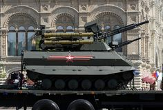 Multifunctional unmanned combat reconnaissance and fire support module `Uranus-9` during the parade in honor of Victory day. MOSCOW, RUSSIA - MAY 9, 2018 Royalty Free Stock Photos