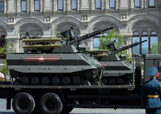 Multifunctional unmanned combat reconnaissance and fire support module `Uranus-9` during the parade in honor of Victory day. MOSCOW, RUSSIA - MAY 9, 2018 Stock Photos