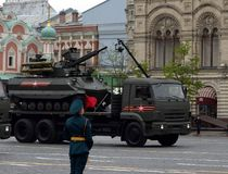 Multifunctional unmanned combat reconnaissance and fire support module `Uranus-9` on red square. MOSCOW, RUSSIA — MAY 6, 2018: Multifunctional unmanned combat Stock Image