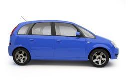 Multifunctioneel blauw auto zijaanzicht Stock Foto's
