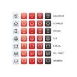 Multifunctionele adreskaartjereeks Webpictogrammen voor zaken, financiën en mededeling Royalty-vrije Stock Afbeeldingen