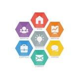 Multifunctionele reeks Webpictogrammen voor zaken, financiën en mededeling Stock Afbeeldingen