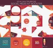 Multifunctionele sociale media uitrustingsspanningsverhoger royalty-vrije illustratie