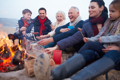 Multigeneratiefamilie die Barbecue op de Winterstrand hebben stock fotografie