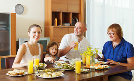 Multigeneration family  eating lunch Stock Image