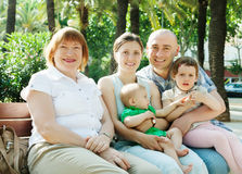 Multigeneration family  in  summer day Stock Photos
