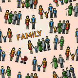 Multigenerational family freehand pattern with all Royalty Free Stock Images