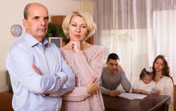 Multigenerational family   having financial problems Stock Photo