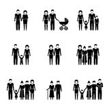 Multigenerational family monochrome icons set with Royalty Free Stock Image