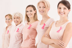 Multigenerational fight with cancer. Multigenerational women combining forces in breast cancer fight stock photography