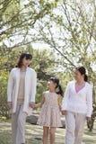 Multigenerationele familie, grootmoeder, moeder, en de handen van de dochterholding en het gaan voor een gang in het park in de le Royalty-vrije Stock Foto's