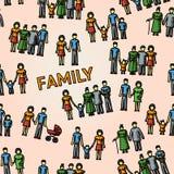 Multigenerationele familiepatroon uit de vrije hand met allen Royalty-vrije Stock Afbeeldingen
