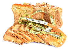 Multigrain bread and fitness Royalty Free Stock Photos