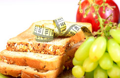 Multigrain bread and fruits Royalty Free Stock Photo
