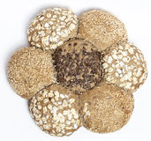 Multigrain brown bread in shape of flower isolated Royalty Free Stock Images