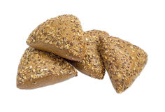 Multigrain buns sprinkled with sunflower seeds, flax and sesame Royalty Free Stock Photos