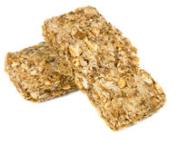Multigrain Cereal Biscuits. Two multigrain cereal biscuits, isolated on white Stock Images