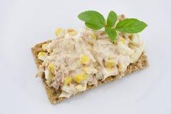 Multigrain crispbread. Multigrain crisp bread and tuna salad Royalty Free Stock Photography