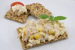 Multigrain crispbread. Multigrain crisp bread and tuna salad Stock Photography