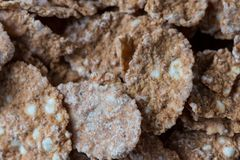 Multigrain natural flakes as background. Healthy food. Top view. royalty free stock images